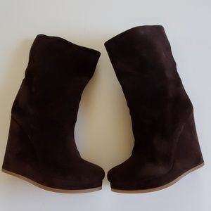Jil sander chocolate wedge boots size 38½